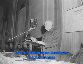 Col. E. (Ted) Brown, during a meeting of the Edmonton Chamber of Commerce, members of the Canadia...