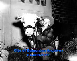 1948 Spring Livestock Show at the Exhibition grounds: winner of the calf-feeding competition, Law...