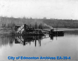 A Gold Dredge At Work on the River at Edmonton
