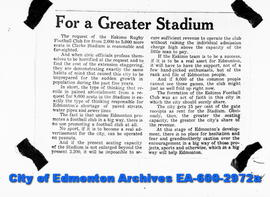 "Negative copies of news articles.  ""For a Greater Stadium"""