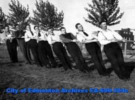 Edmonton Police Amateur Athletic Association tug-of-war: (L-R) Pete Tyler, Joe Lamoureux, Jack Wa...