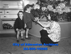 Mothers' Day feature: Doug and Patty Moher bargaining with florist, Alberta Brockie, over a bouqu...