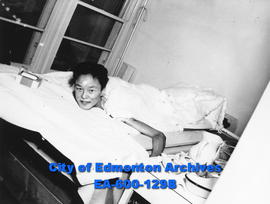 Donald Ayalik, injured Inuit boy, at the Dr. Charles Camsell hospital, Edmonton.