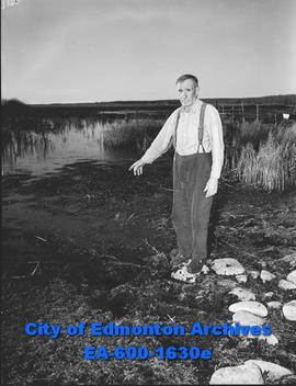 North shore of Lac St. Anne: Joseph Beaudoin shows where he pulled Delpy from the water.