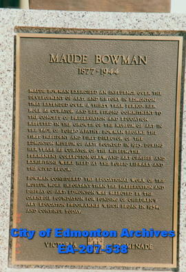 Plaque - Maude Bowman