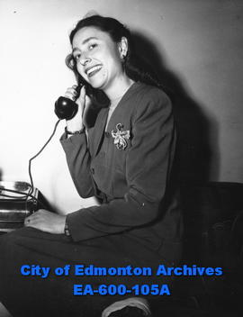 Mrs. Neil Campbell of Yellowknife during a stop-over in Edmonton.
