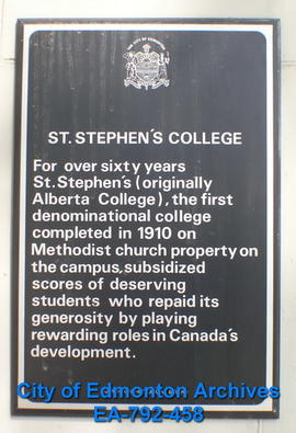 EHB Plaque for St. Stephen's College