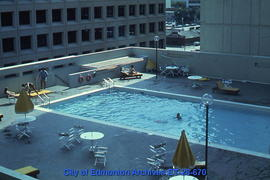 Roof-top swimming pool downtown