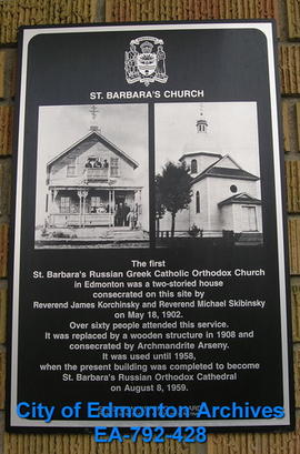 EHB Plaque for St. Barbara's Church