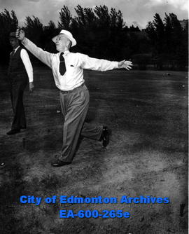 Mayor Harry Ainlay and Chief Constable Reg. Jennings playing horseshoes at the annual Edmonton Po...