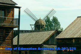 Windmill over Fort Edmonton Pallisades
