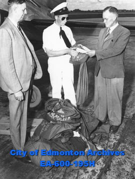 Inaugural flight of Trans-Canada Airlines - Winnipeg to Edmonton arrives in Edmonton. Mail and sp...