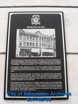 EHB Plaque for the Brighton Block / Ernest Brown Block