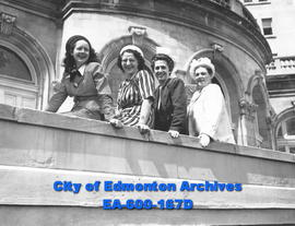 Past members of the Edmonton Grads basketball team, assembled on steps of Macdonald Hotel, 25th A...