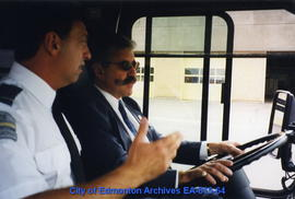 Driving instructor Gary Anselmo (left) and City Manager Bruce Thom (right)