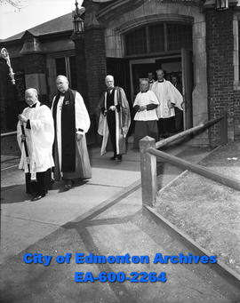 """Bishop calls for new religious view"". Archdeacon C.F.A. Clough, Rt. Rev. Walter Foster..."