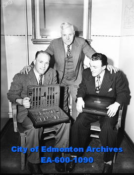 Elmer Kreller, E.I. Clarke, presidents of the Exhibition Association and Edmonton Livestock Breed...