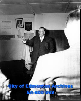 Pat Ashby, Social Credit MP for Edmonton East speaks at a meeting of Grierson Estate district res...