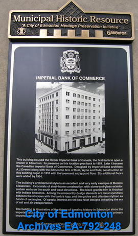 EHB Plaque for the Imperial Bank of Commerce