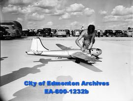 Ross Grady, Alberta champion model aeroneer, with model B29.