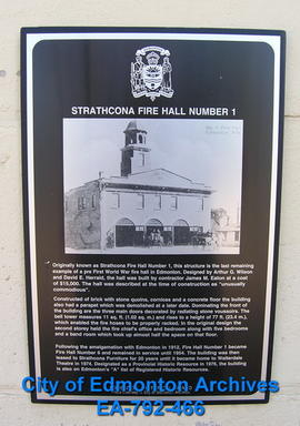 EHB Plaque for Strathcona Fire Hall 1
