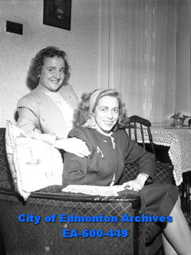 Miss Ione Joslin and Miss Kay Clews, Regina businesswomen, visit Edmonton while on their world tour.
