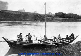 Arrival of the Reader Family from The Pas by York Boat at Upper Fort Garry.