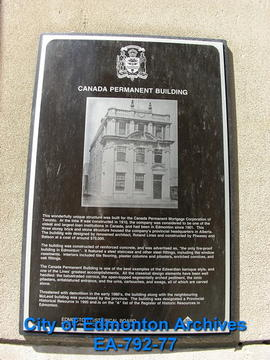 EHB Plaque for the Canada Permanent Building