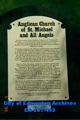 Sign - Anglican Church of St. Michael and All Angels  - Fort Edmonton Park