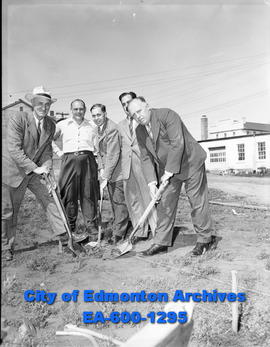 Turning the sod for new playground in North Edmonton sponsored by the Gyro Club and Community Lea...