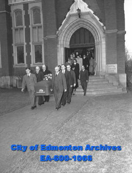 Funeral cortege of the late W. A. Fallow, minister of public works for the province of Alberta, l...