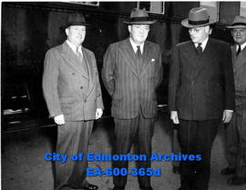 (L-R) J. R. Strother, W. A. Mather, J. C. Jones, CPR officials on an inspection tour through West...