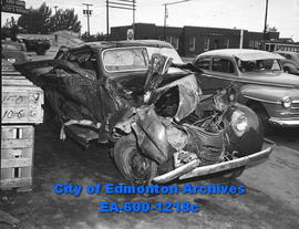 Car demolished by the Calgary-Edmonton Chinook Flyer train near Nisku.