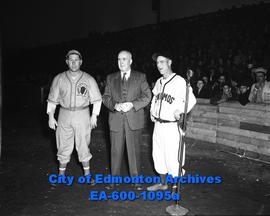 Baseball opening game. First pitch of the '48 season: L-R: J. Gibbson, Deputy Mayor S. Parsons, E...