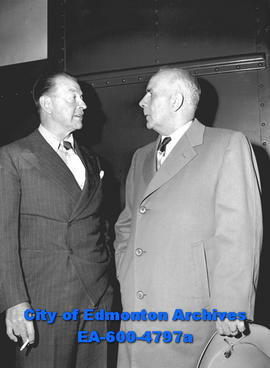Viscount Alexander of Tunis visits with Mayor Sid Parsons at the CNR station on his stop from Jas...