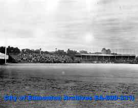 The first night baseball game at Renfrew Park - Big Four Baseball under floodlights: view of the ...