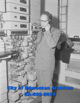 New equipment goes into Northwest Telephone Company radio-telephone system. G.A. Bartley was in c...