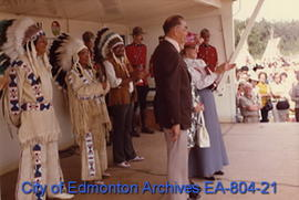 "Official ceremonies at the ""Heritage Day - Scarlet 100"" special event held at Fort Edmo..."