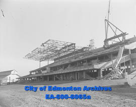 Construction progress of largest most modern racing grandstand at exhibition grounds here with se...