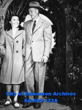 Mr. and Mrs. Charles and Edna Hansen of Fort Simpson, in Edmonton visiting relatives Elizabeth, M...