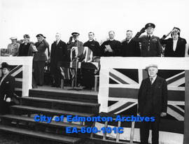 Platform party at Empire Day service, Legislative Grounds, Edmonton: (L-R) Mrs. F. F.Worthington,...
