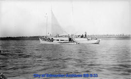 Steam launch owned and run by Esquimoux, towing schooner owned by white men up Peel river to Macp...