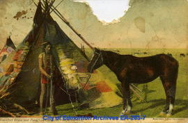 Blackfoot Brave and Pony, on Canadian Pacific Railway