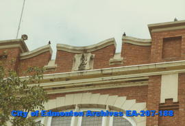 H.A. Gray School - detail of crest on battlement