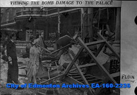King George VI and Queen Elizabeth Viewing the Bomb Damage to the Palace.