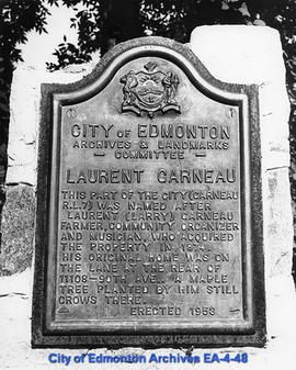 Plaque on Laurent Garneau Memorial