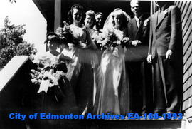 Bill and Trudy Stevenson Wedding Party on Church Steps
