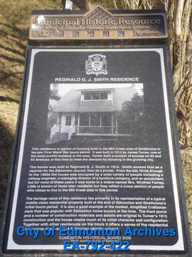 EHB Plaque for the Reginald G.J. Smith Residence