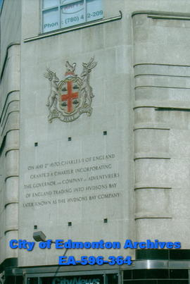 Hudson's Bay Company Building plaque: HBC Coat of Arms and Charter