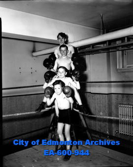 Edmonton Boxing Club members: (T-B) Don McGregor, Oscar Kruger, Buddy McDonald and Neil (Dempsey)...